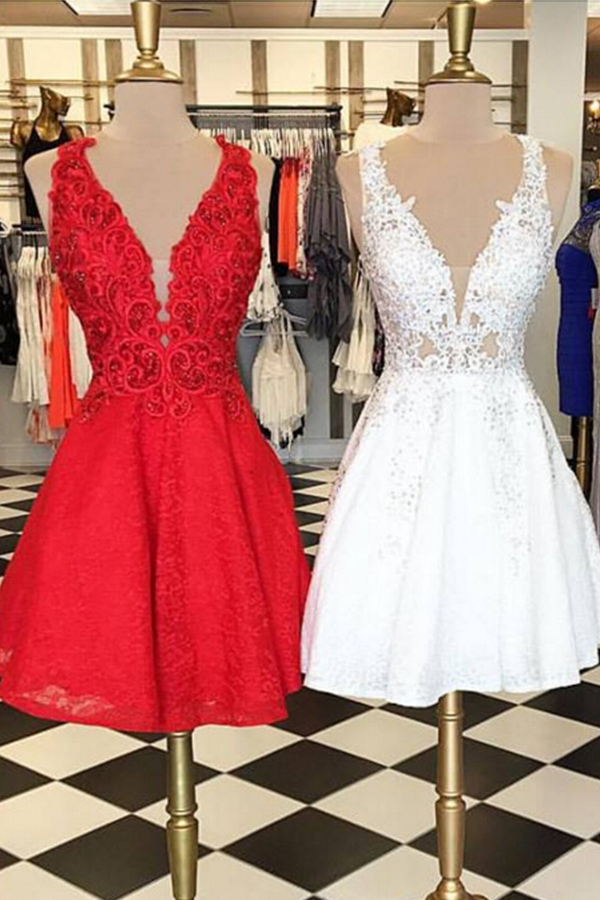 Short White and Red Prom Dresses