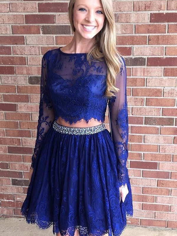 bac5d39abc5 Two Piece Short Royal Blue Lace Homecoming Dress