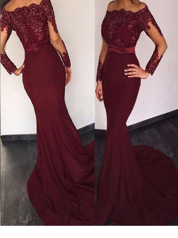Burgundy Long Sleeve Lace Mermaid Prom Dressbeaded Lace Mermaid Burgundy Long Sleeve Evening Dress Bridesmaid Dress Sold By Charming Dressy