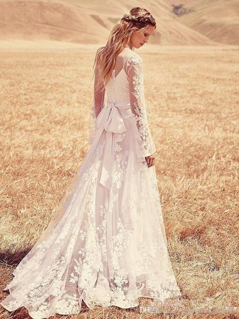 bcd6995de82a E18 Sexy Elegant Long Sleeve High Collar Lace A-Line Wedding Dresses With Appliques  Plus