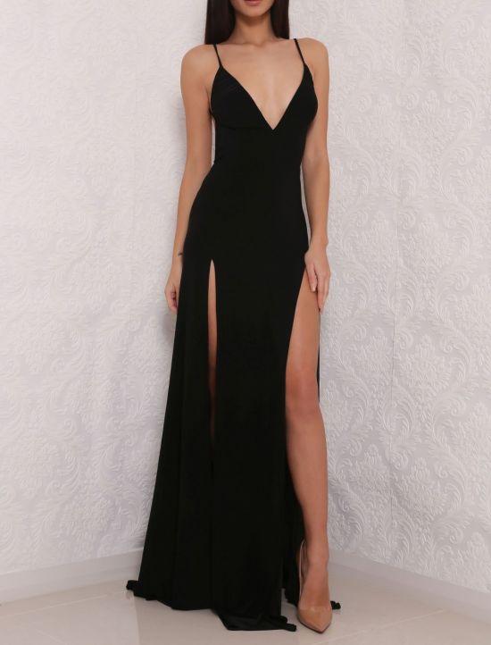 Black V Neck Chiffon Simple Formal Long Prom Dress Sexy Deep V Neck