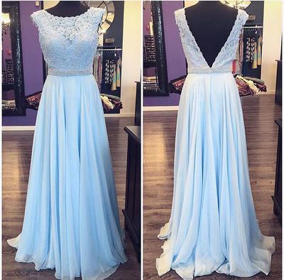 174de24a140 Charming Long Cap Sleeve Pale Blue Lace Prom Dress