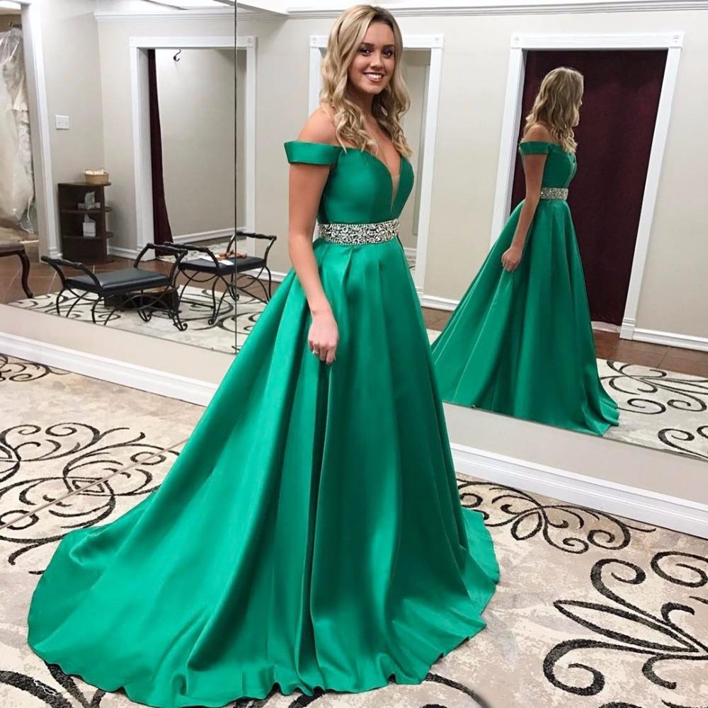 Emerald Green Prom Dresses Long 2017 Satin Off Shoulder Evening ...