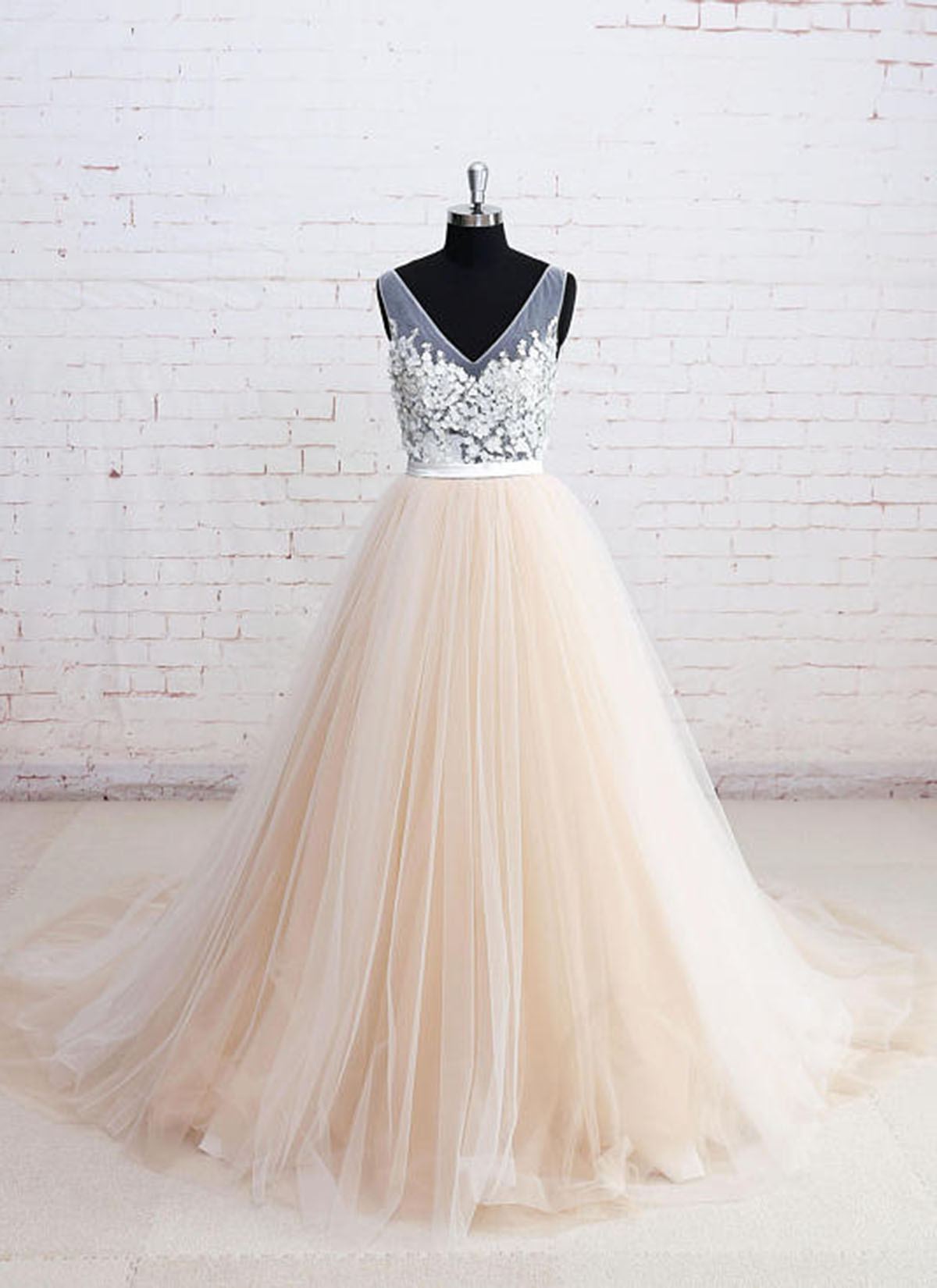 c0e28cf9423 Champagne tulle V neck long wedding dress