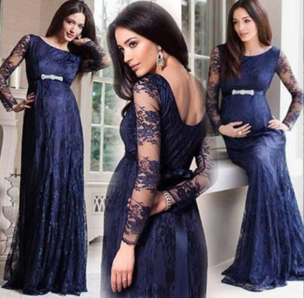 Lace Long Sleeve Pregnant Prom Dress,Navy Blue Prom Dress, Long Prom ...