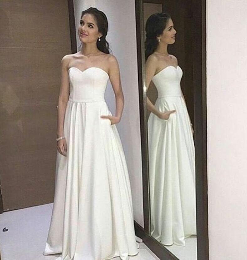 db69e352d81b Strapless White Prom Dress,Long Prom Dress,Simple Prom Dress,Evening Dresses ,