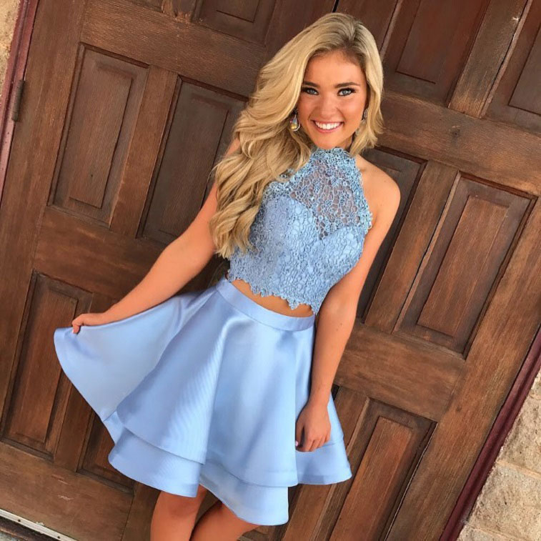 Two Piece Homecoming Dresses,Lace Homecoming Dresses,Halter Short ...