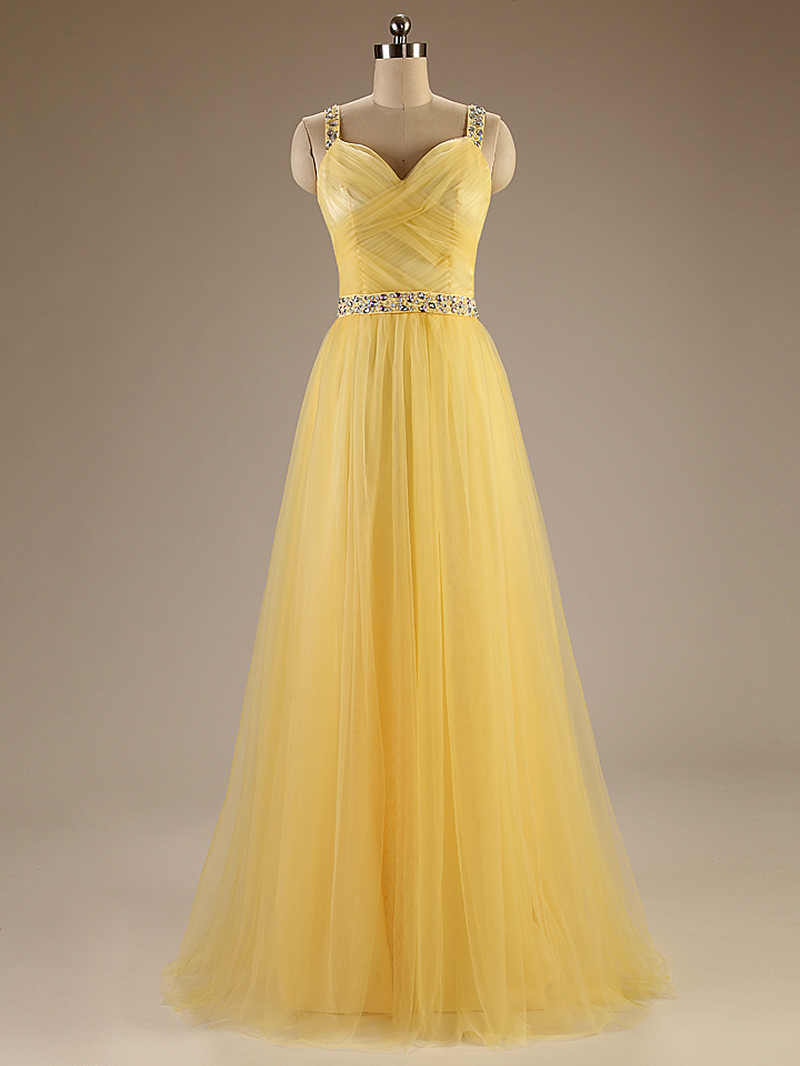 A84 Spaghetti Straps Long Tulle Evening Gownscharming Long Prom