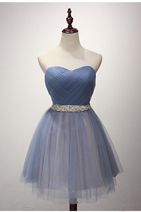 Strapless Sweetheart Neckline Green Blue Tulle Homecoming Prom ...