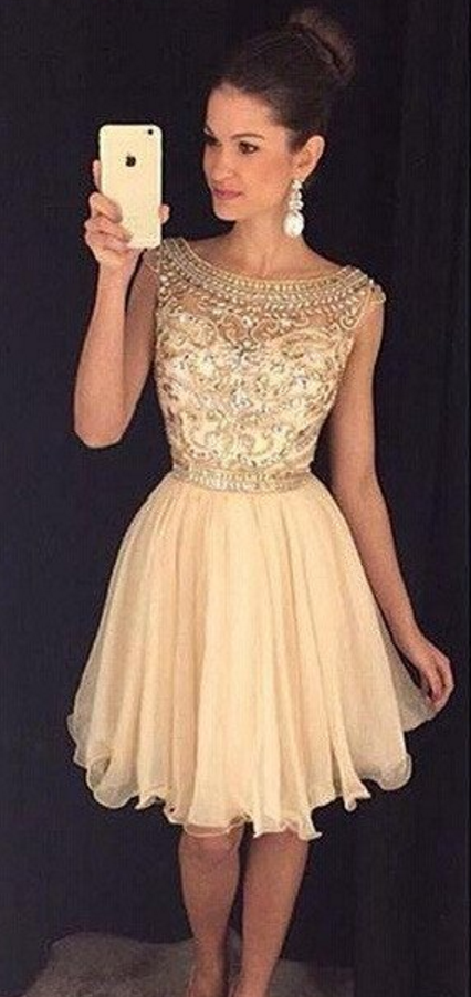 Luxury Gold Capped-Sleeves Beaded Bateau-Neck Short Homecoming Dresses 8261a13af