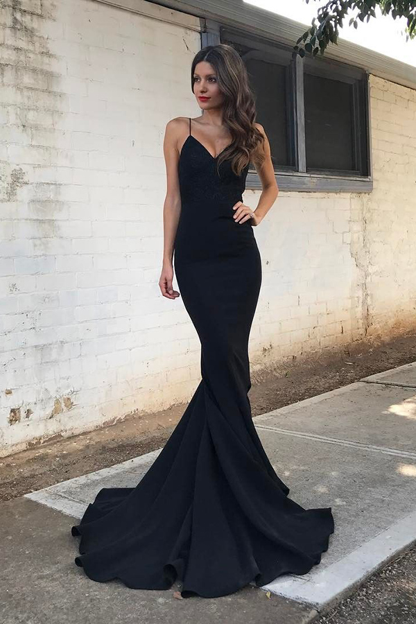 Cheap Black Spaghetti Straps Sweetheart Long Mermaid Prom Dress Plus Size  Formal Dresses P93