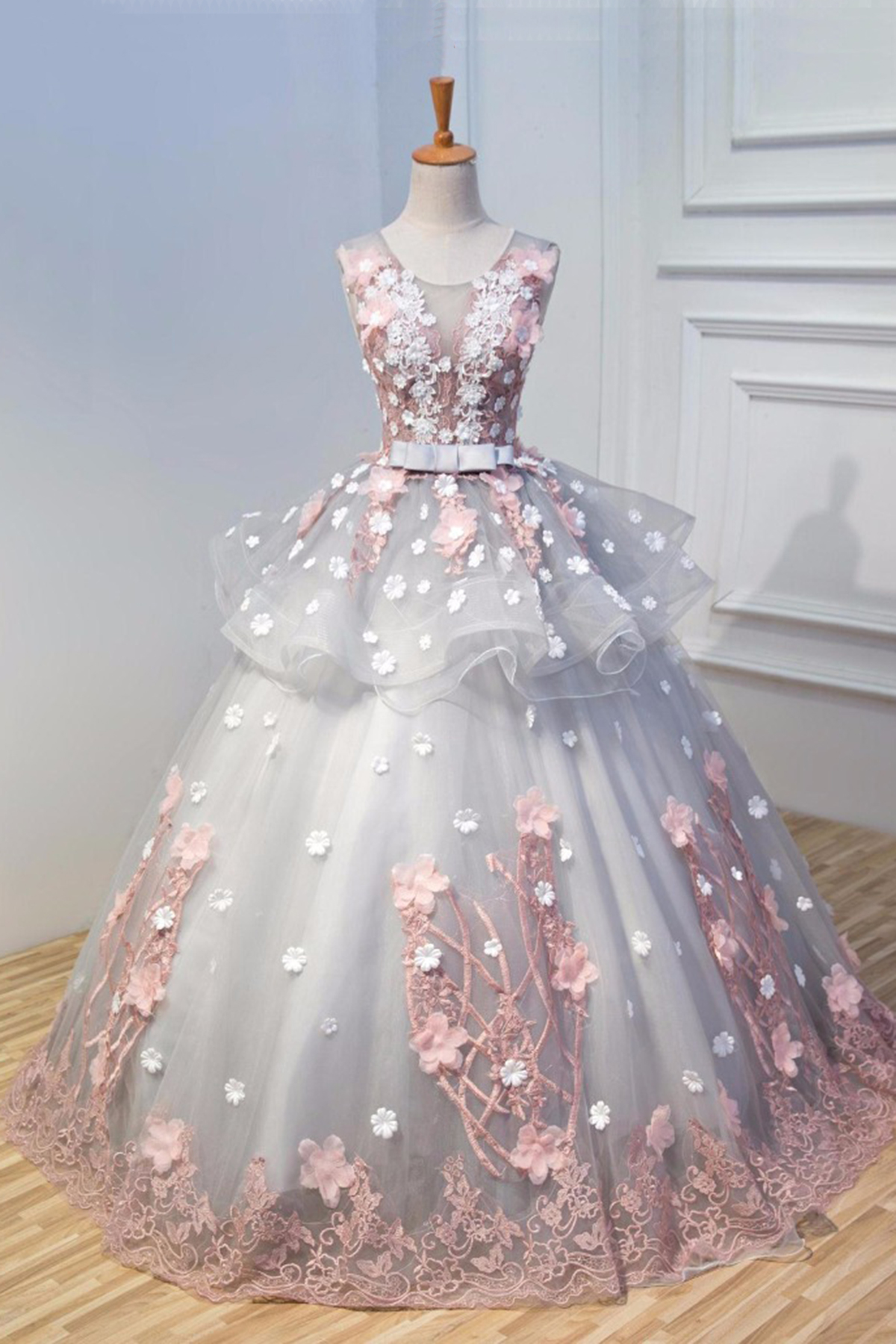 Cheap Prom Dresses By Sweetheartdress Grey Tulle 3d Flower Long A