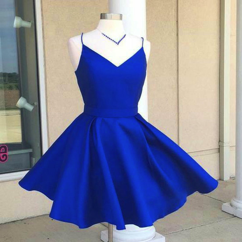 373c1eaa701a A-Line Spaghetti Straps Homecoming Dresses,Open Back Royal Blue ...