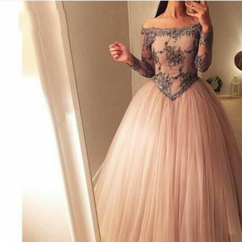 5a3c2359067 Elegant Off-shoulder Long Sleeves Lace Beaded Crystal Ball Gown Prom  Evening Dresses Plus Size E367 from Lemonbridal