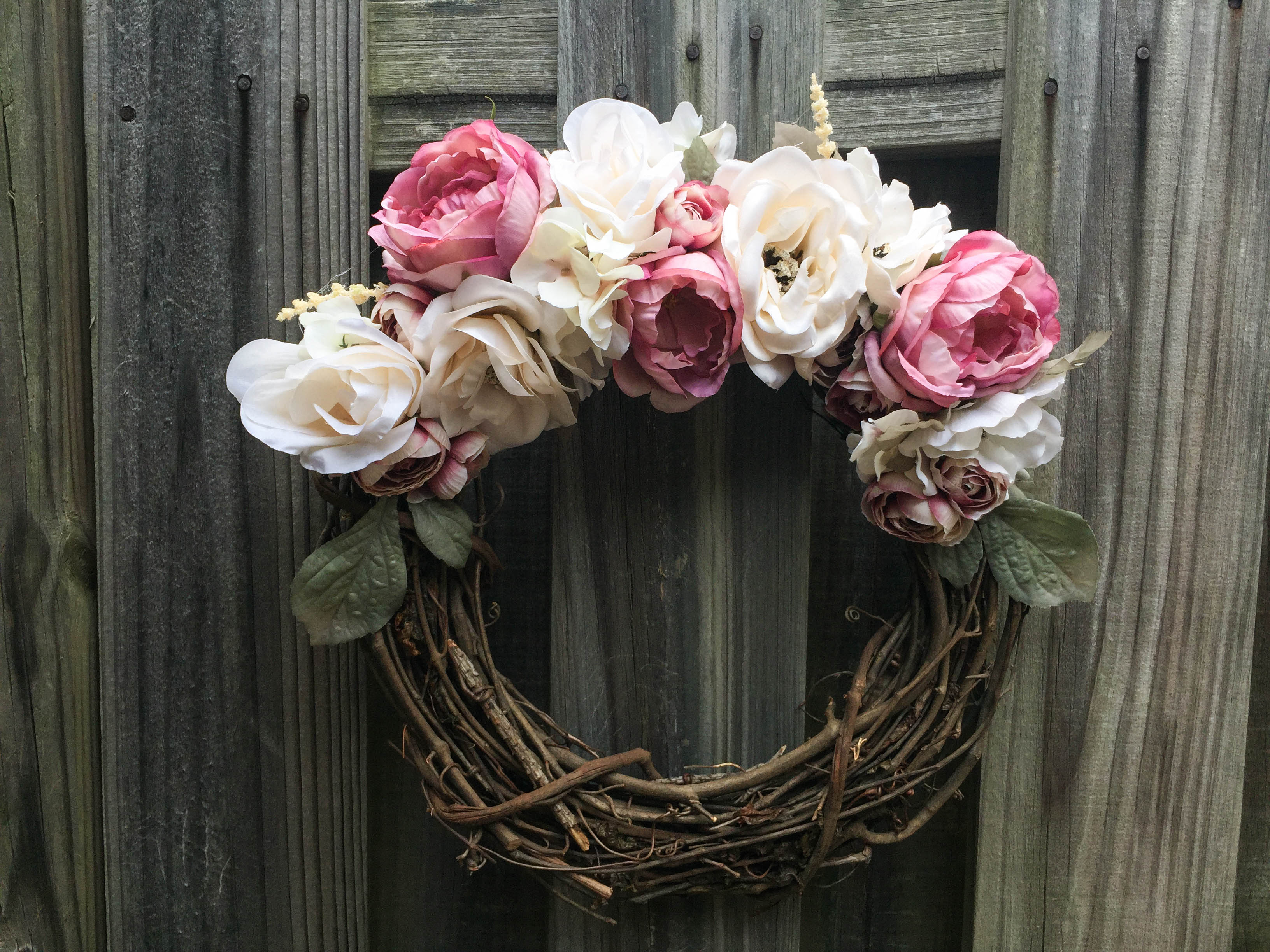 White And Pink Floral Wreath Handmade On Storenvy