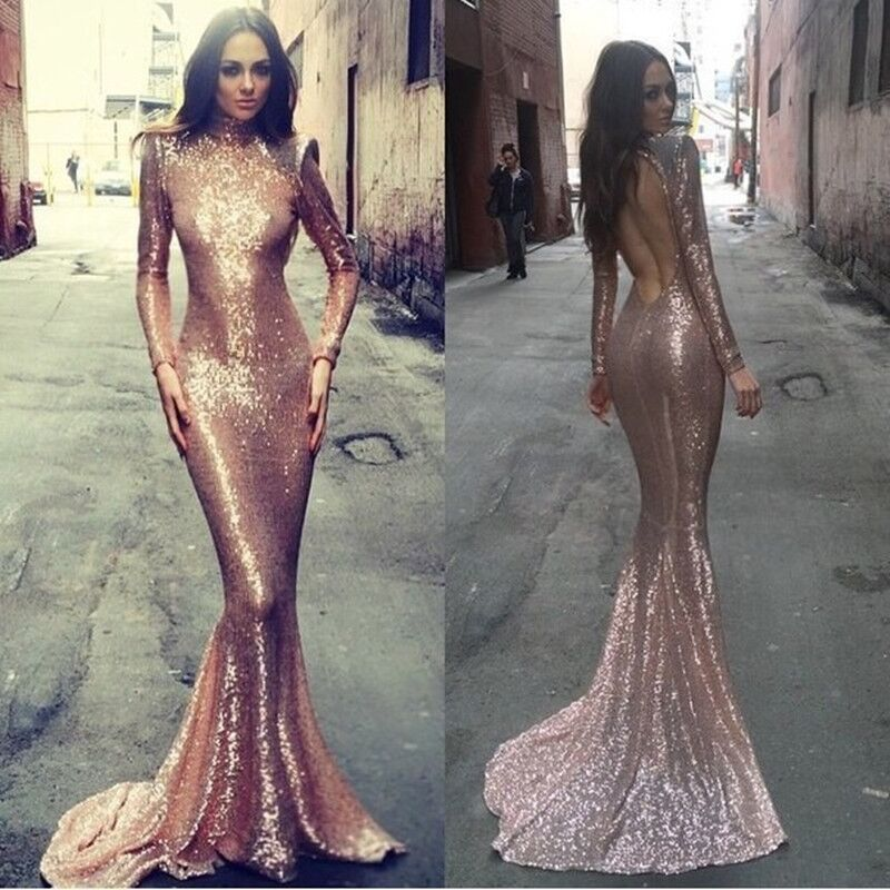 Sexy Rose Gold Long Sleeve Mermaid Prom Dress Rose Gold Sequin