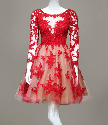 Tulle Lace Long Sleeve Short Red Prom Dress Sexy Red Prom Dresses