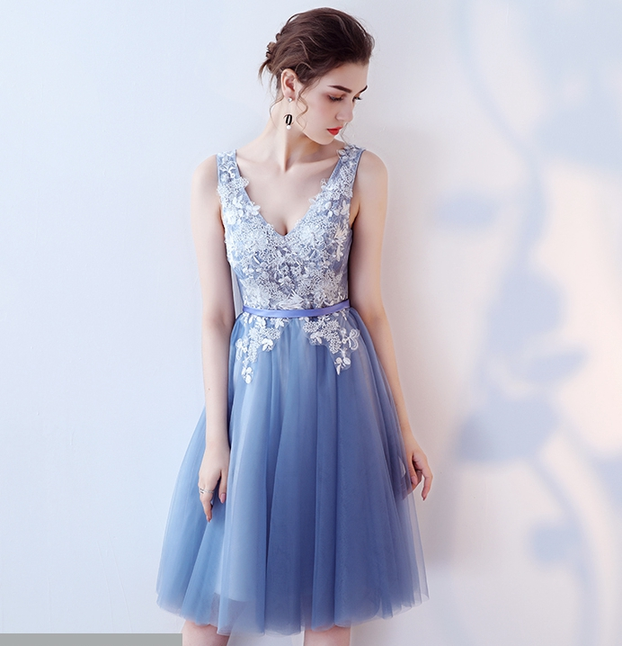 Cocktail Length Blue Prom Dresses