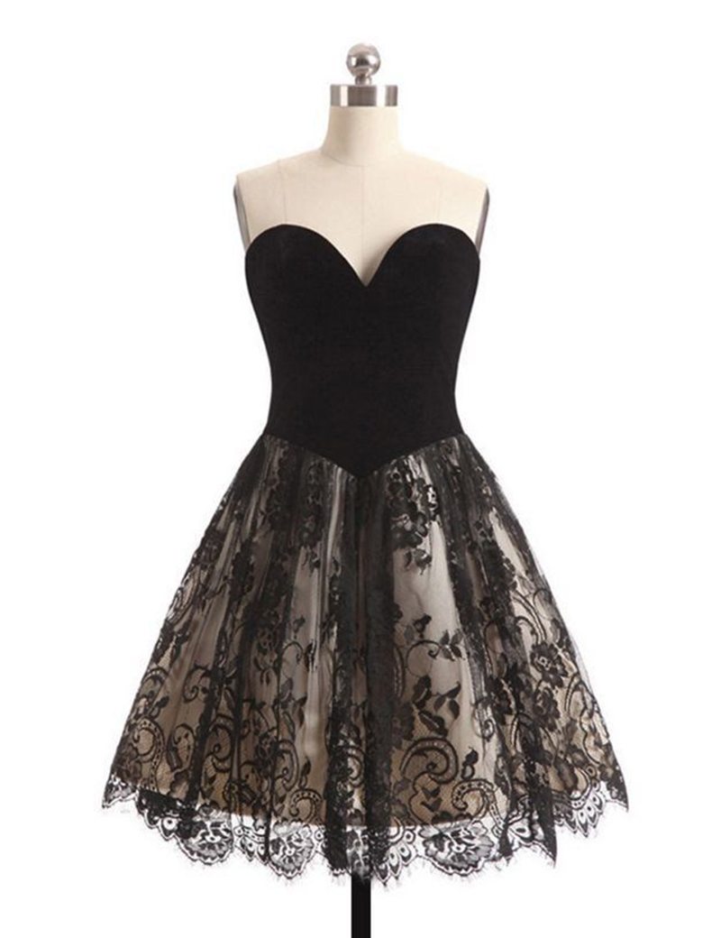 Simple Sweetheart A Line Black Lace Homecoming Dress Short Party Dresses Knee Length Birthday Dress Hd04