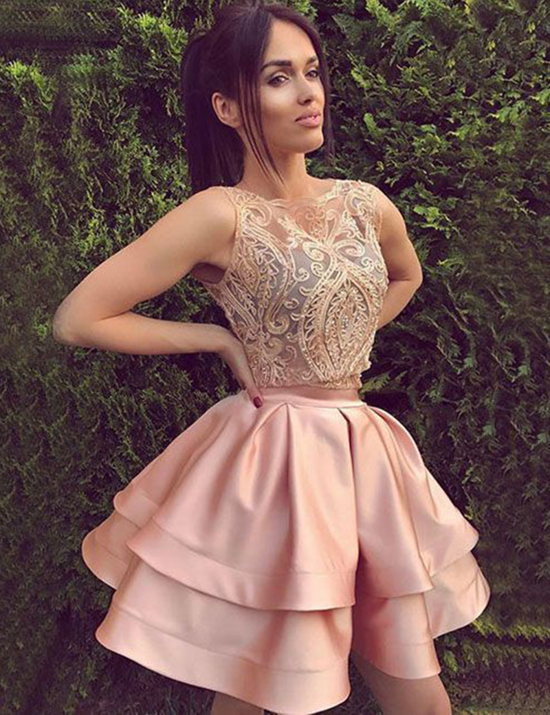 5ef1a6c8d615bc Two Piece Homecoming Dress Plus Size O-neck Lace Appliques Tiered Short  Party Women Dresses
