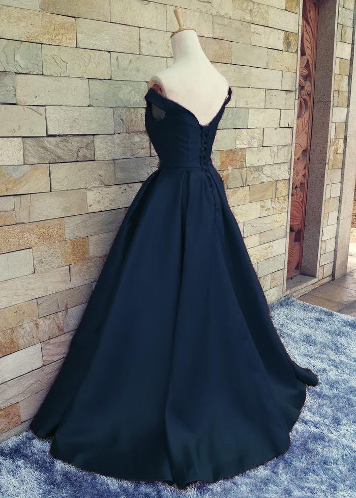 670634d3411 E172 Charming Dark Navy Blue A Line Prom Dresses Satin Off The Shoulder Evening  Gowns With