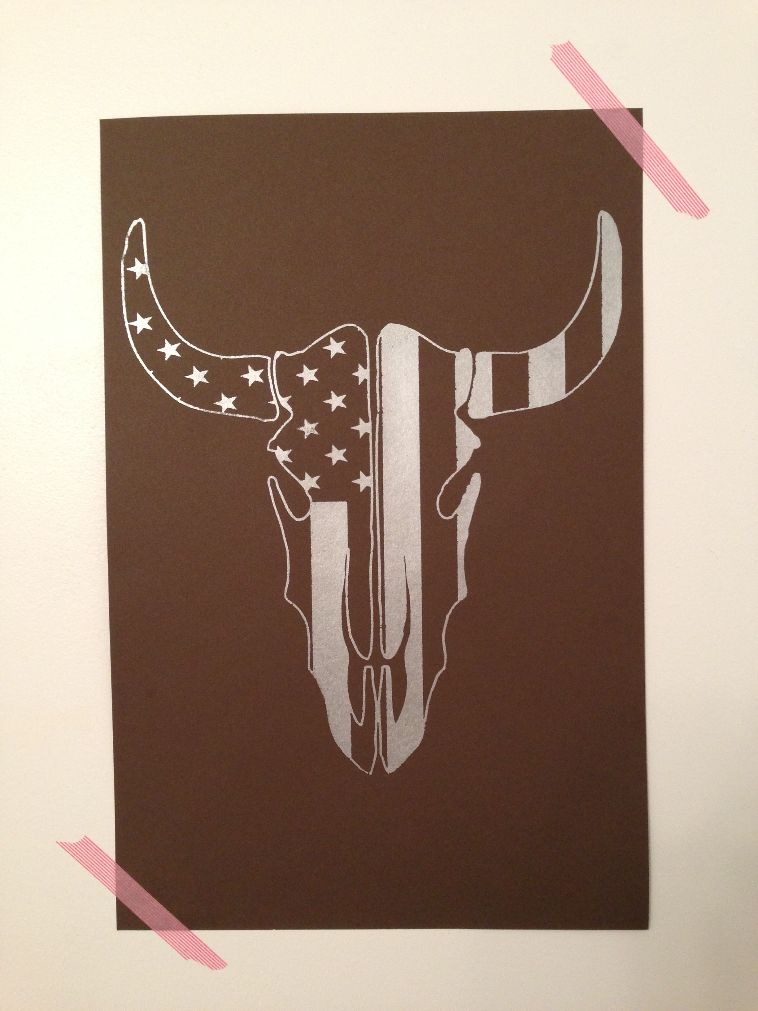 4397b0aa563c American Flag Steer Skull · Paper Skull Prints · Online Store ...