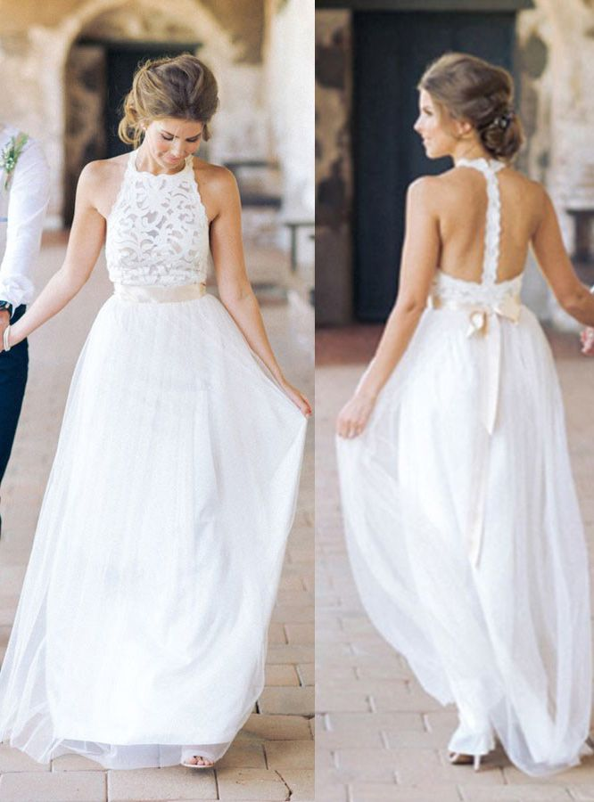 Wedding Dresses,Beach Wedding Dresses,White Lace Tulle Wedding ...
