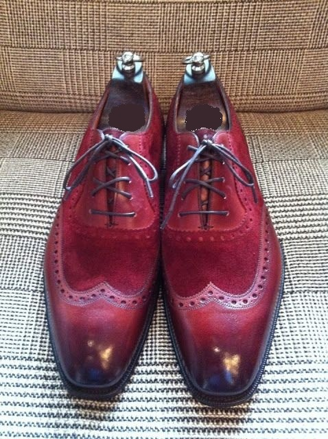 unique design select for newest clear-cut texture Handmade Men burgundy formal wingtip shoes, Men spectator dress shoes sold  by Rangoli Collection