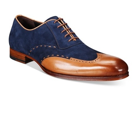 20153c688a0 New Handmade mens wingtip Tan and Navy blue suede and leather ...