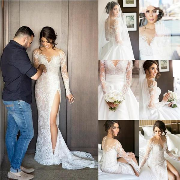 Sexy Wedding Dress Mermaid Long Sleeves Wedding Dress Long Side