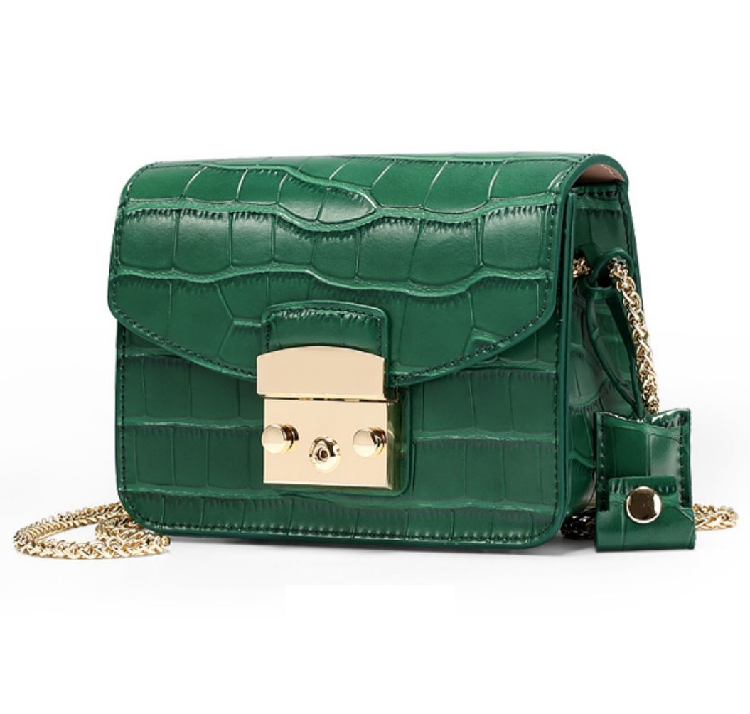 JeHouze Fashion Women Genuine Leather Crossbody Mini Handbag Metal ... c04b0a46af4e3