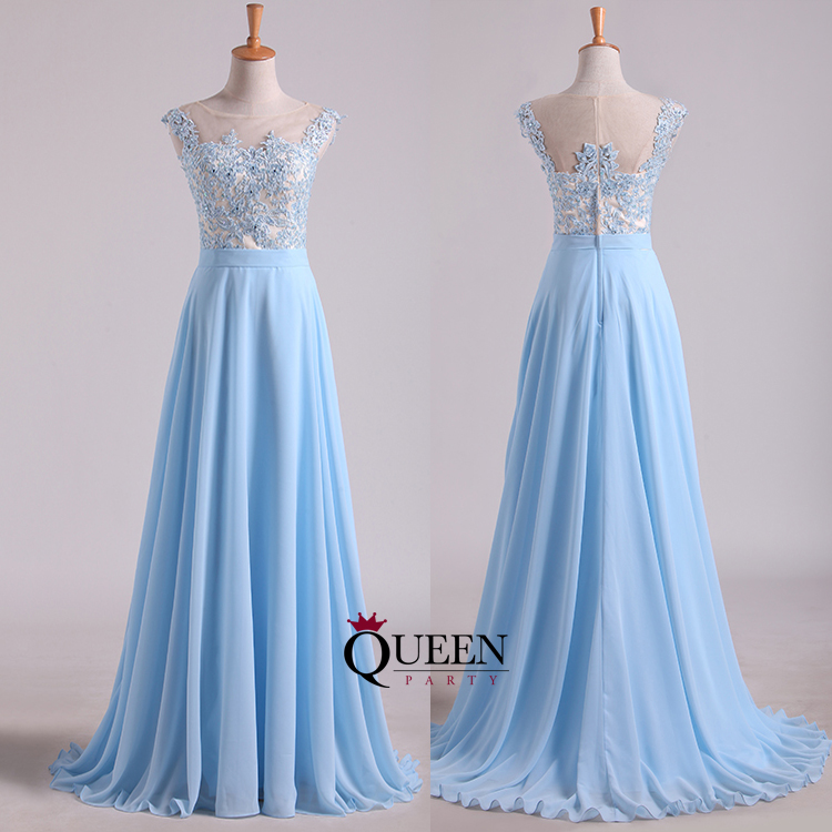 Designer Light Blue Lace Top Illusion Chiffon Long Prom Dress With ...