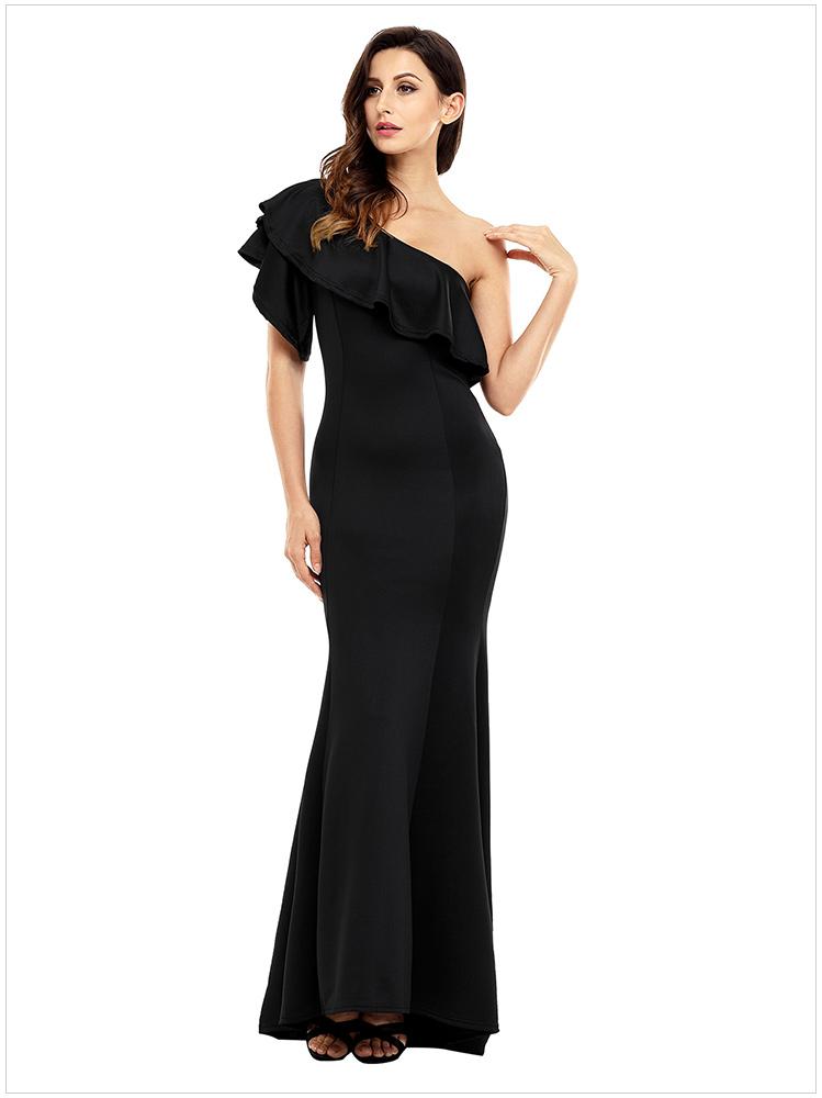 483121fe194 ... Red Blue Black Ruffle One Shoulder Elegant Mermaid Dress Solid Evening  Party Clubwear Long Dresses SYD70