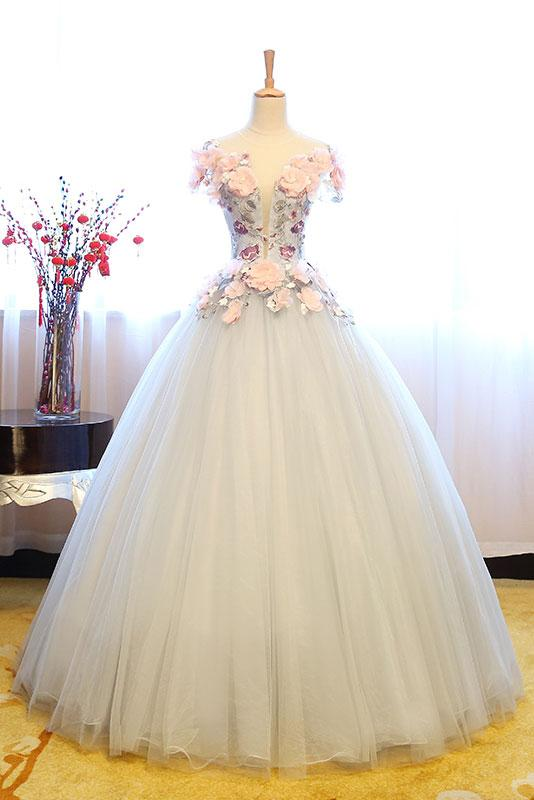 33cc1bd870 Cheap Prom Dresses by SweetheartDress · Gray tulle lace appliqués ...