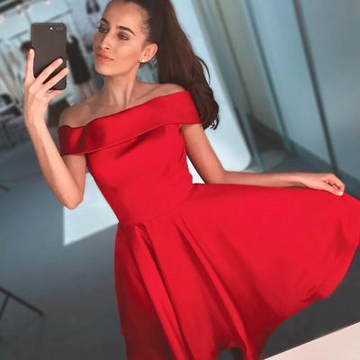 ff45debe7e2a Red A-Line Off Shoulder Homecoming Dress