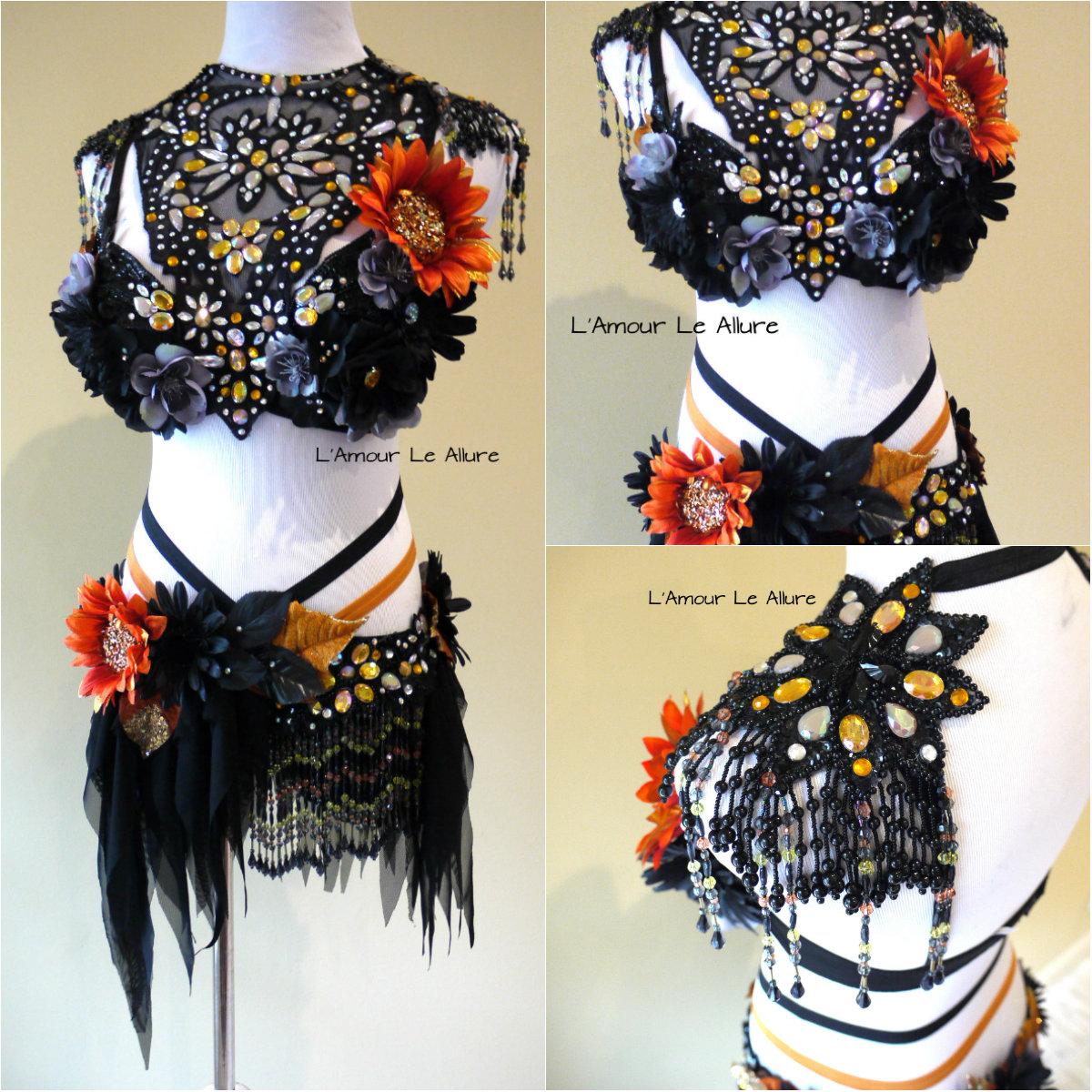 d27908e3cd2fd Dark Orange Halloween Fairy Costume Cosplay Dance Costume Rave Bra on  Storenvy