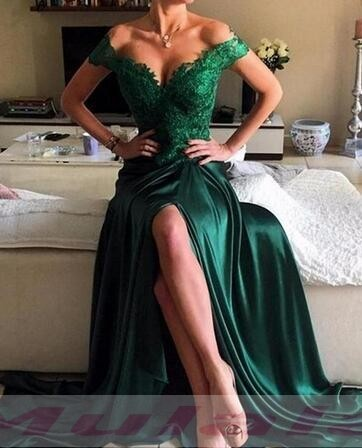 40d65e407f3 Emerald Green Mermaid Evening Dress Sexy Side Split Off the Shoulder Prom Dresses  Lace Appliques Backless