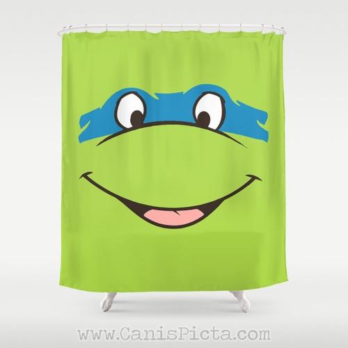 Leonardo TMNT Shower Curtain 71 X 74 Decorative TV Pop Culture Humor Lime Minimalist