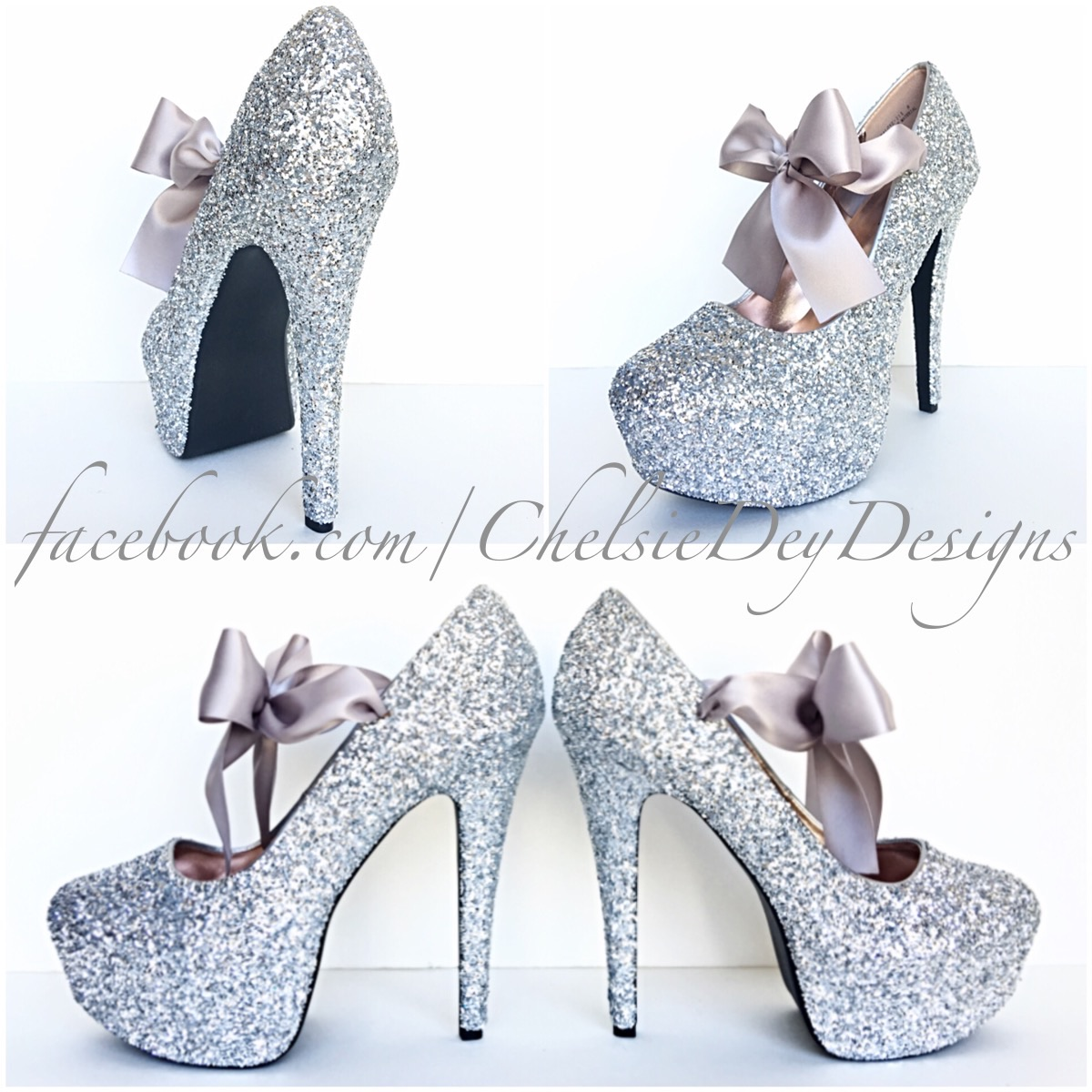 130c032b37a6 Silver Glitter High Heels, Grey Platform Pumps, Sparkly Prom Shoes ...