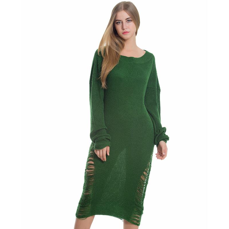 89faf1cbe3 Green Loose Women Hollow Knit Long Sleeve sweater Dress + Free ...