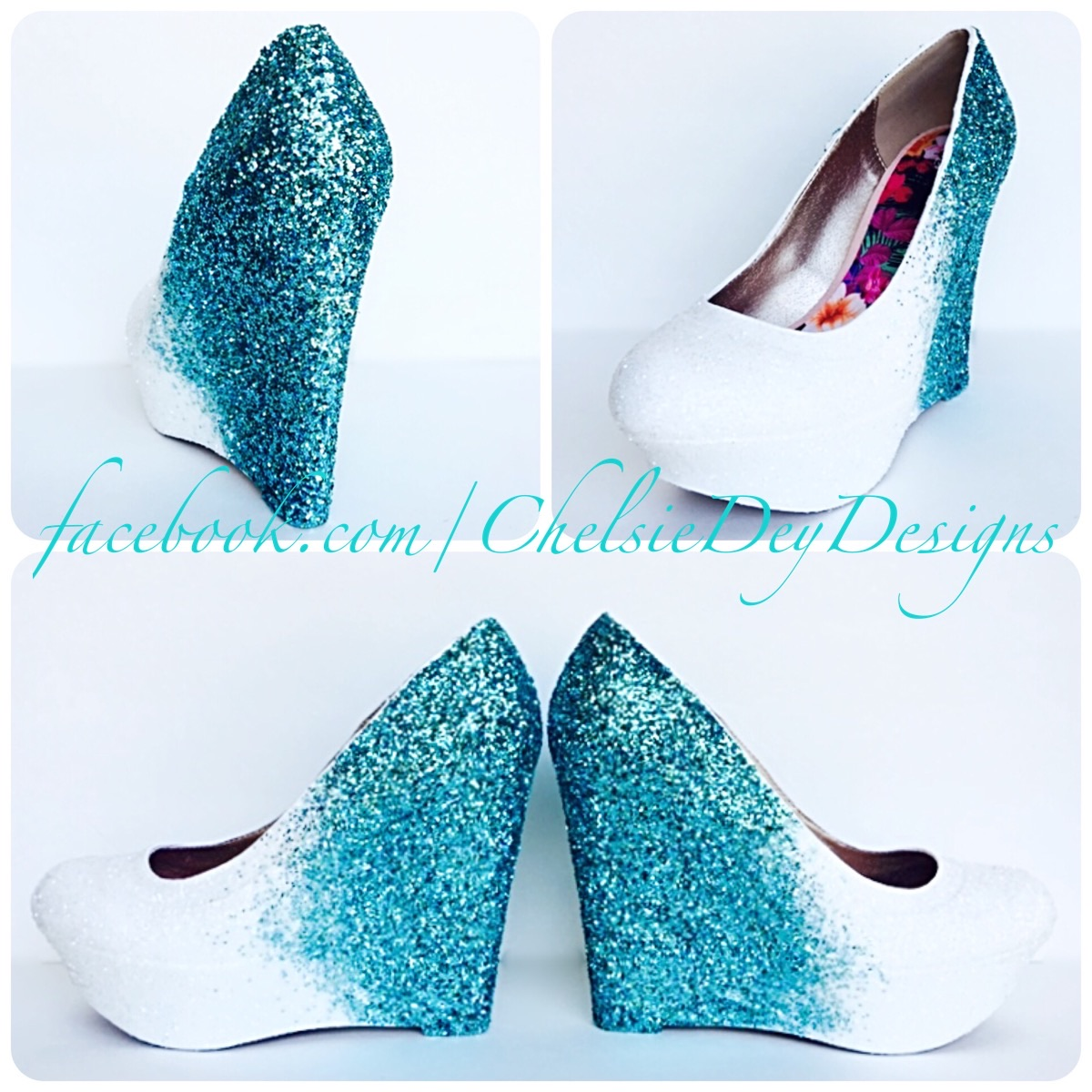 4d9ff60886ac White Ombre Glitter Wedges - Aqua Light Blue Heels - Tiffany Blue ...