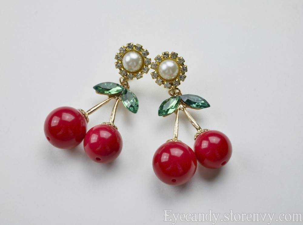 672074f19f4085 Big clip on cherry pearl earrings · Eyecandy · Online Store Powered ...