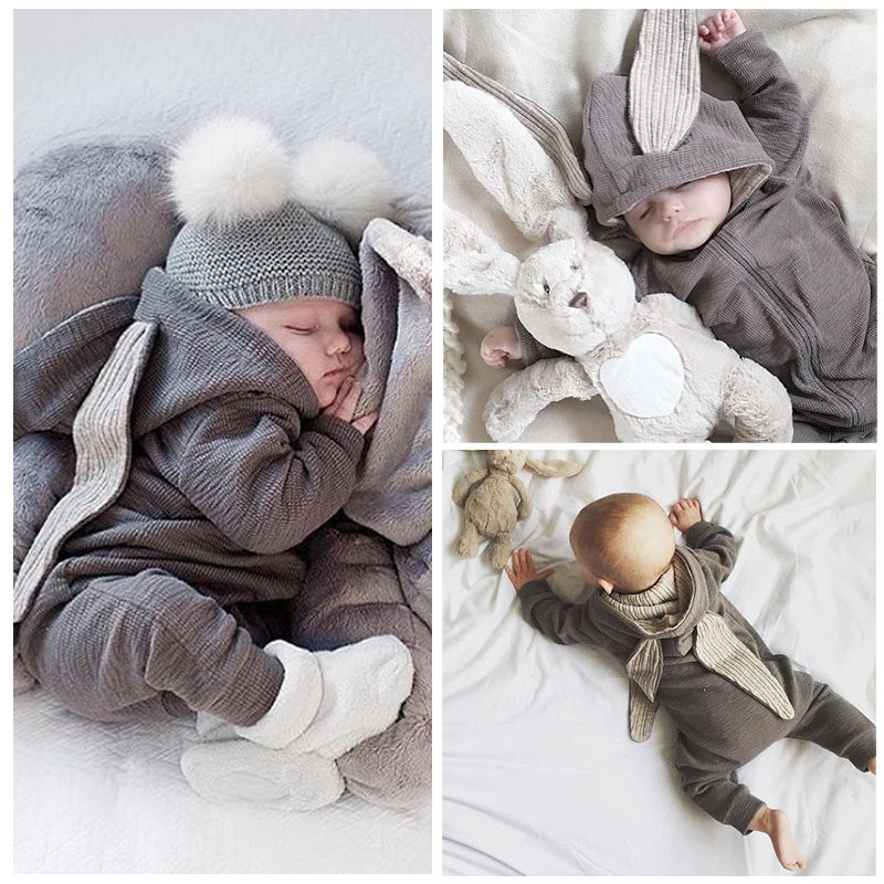3f28dd2dcce 2016 newborn infant baby girl boy clothes cute 3d bunny ear romper jumpsuit  playsuit autumn winter