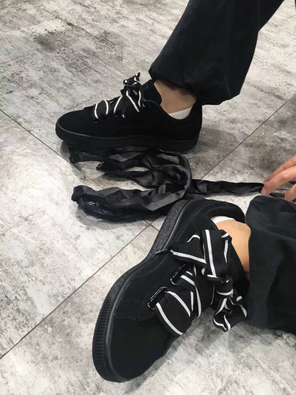 12428ab57a31db Puma Suede Heart Satin II Bow tie ribbon shoes black soul · superstar ·  Online Store Powered by Storenvy