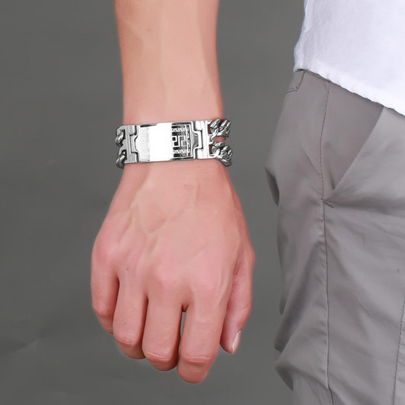 328bc8dd403ea8 Mens 20greece 20key 20id 20tag 20bracelet 20for 20men 20stainless 20steel  20male 20double 20cuba 20chain 20bangles 20hiphop