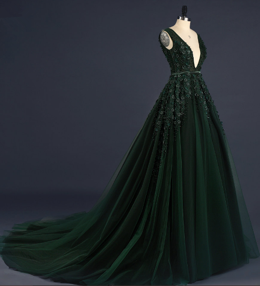 c7db1eb297f Z198 Dark Green Deep V-Neck Appliques Sexy Custom Made Charming Prom Dress