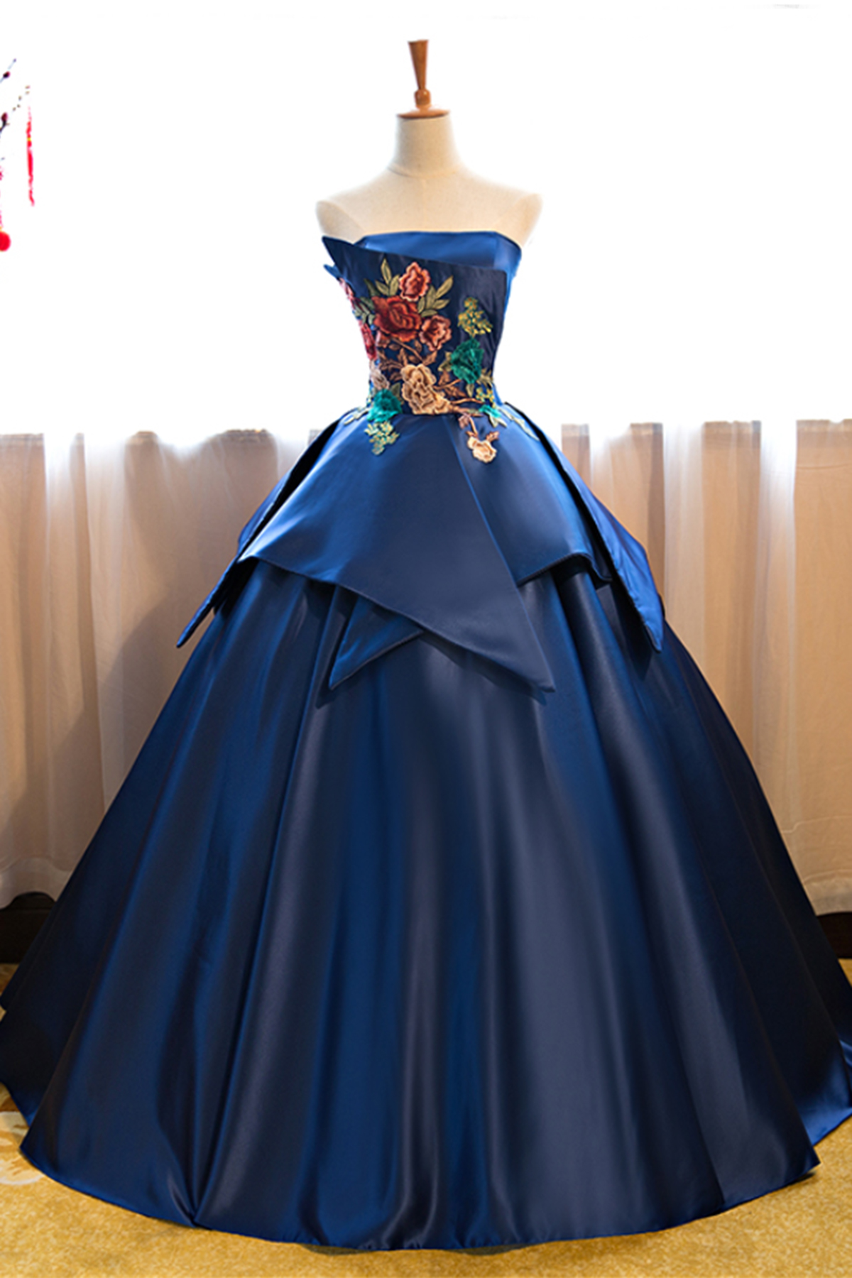 Navy blue strapless long vintage prom dress, long customize evening ...