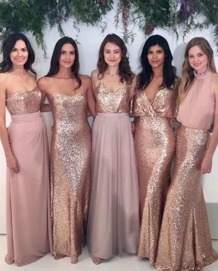 b9192dbc6ed Long Rose Gold Sequin Mismatched Bridesmaid Dresses
