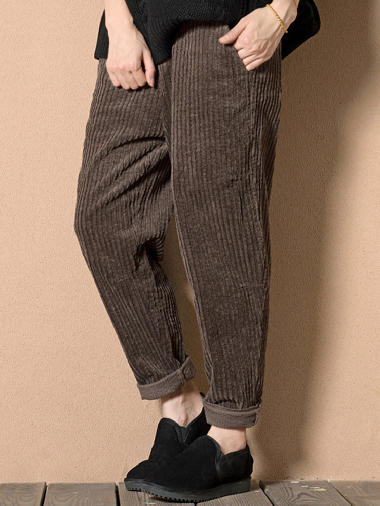 timeless design first rate best choice Casual Loose Solid Color Elastic Waist Harem Women Corduroy Pants sold by  CloudVibe