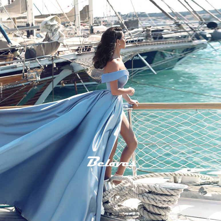 2cea021207 Light Blue Off The Shoulder Ball Gown Princess Prom Dress With Side Slit -  Thumbnail 1 ...